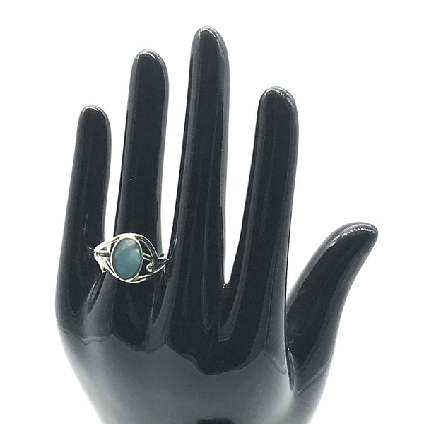Sterling silver ring with Larimar size 8 1/2