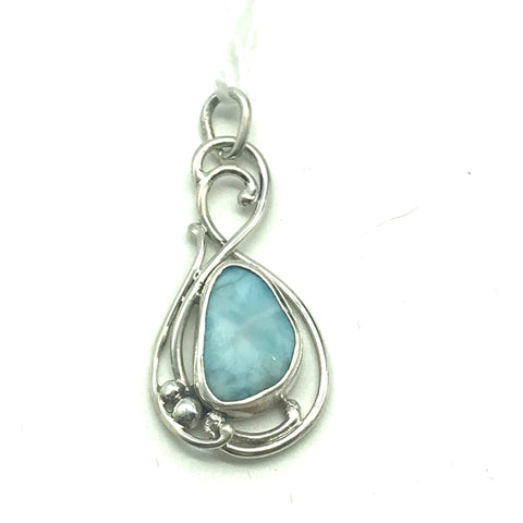 Sterling Silver with Larimar Pendant
