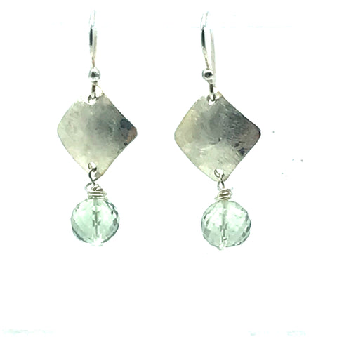 Brushed Sterling Silver Diamond Drop Earrings with Green Amethyst