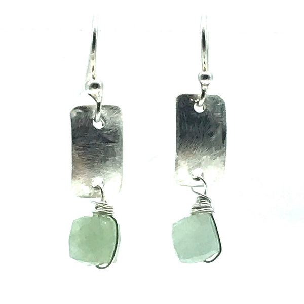Brushed Sterling Silver Rectangle Drop Earrings with Aquamarine