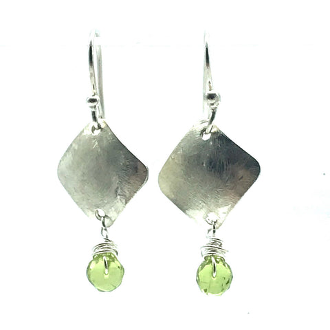 Brushed Sterling Silver Diamond Drop Earrings with Peridot