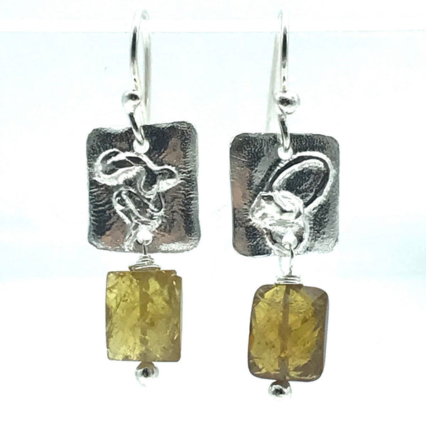 Fused Sterling Silver Square Drop Earrings with Citrine