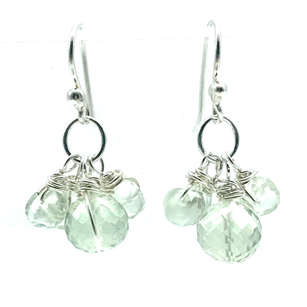 Sparkly Green Amethyst Drop Earrings