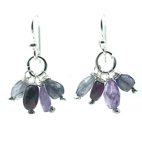 Sparkly Amethyst, Labradorite, Garnet, Iolite Drop Earrings