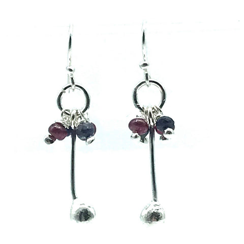 Sterling Silver Palm Drop Earrings with Ruby and Sapphire