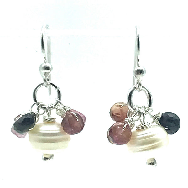Freshwater Pearl and Tourmaline Drop Earrings
