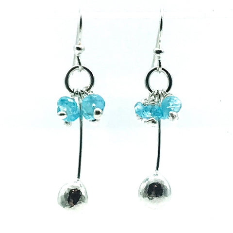 Sterling Silver Palm Drop Earrings with Apatite