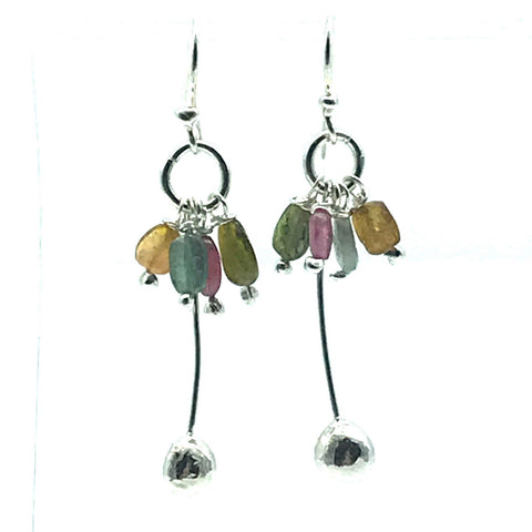 Sterling Silver Palm Drop Earrings with Tourmaline