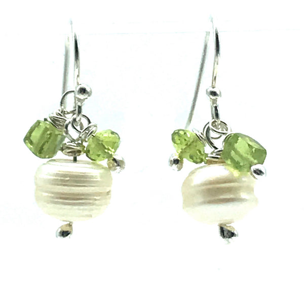 Freshwater Pearl and Peridot Drop Earrings