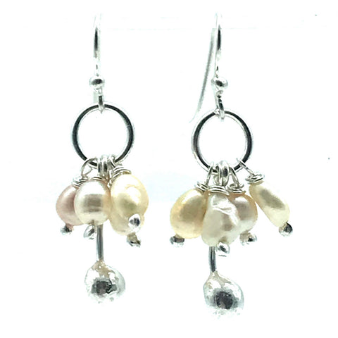 Sterling Silver Palm Drop Earrings with Pearls