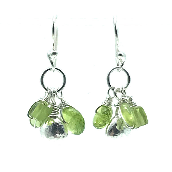 Sterling Silver Palm Drop Earrings with Peridot