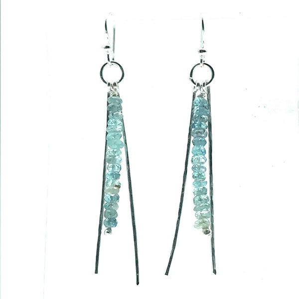 Sterling Silver Horsetail Drop Earrings with Natural Zircon