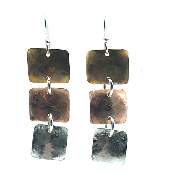 Bronze, Copper and Silver Square Drop Earrings
