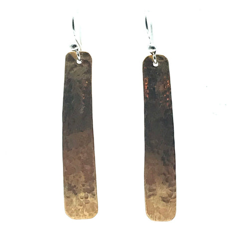 Brushed Bronze Long Rectangle Drop Earrings