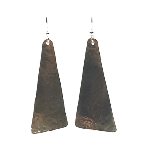 Hammered Bronze Triangle Drop Earrings