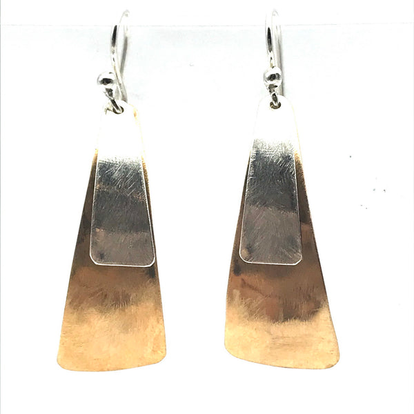Brushed Bronze and Silver Large Triangle Drop Earrings
