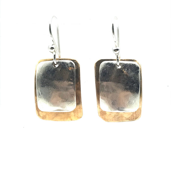 Brushed Bronze and Silver Square Drop Earrings