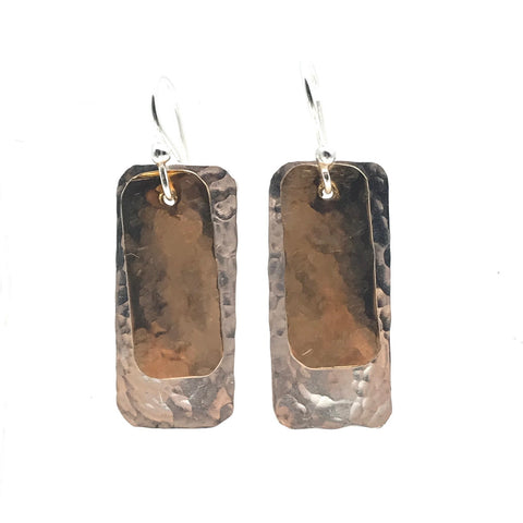 Hammered Silver and Brushed Bronze Rectangle Drop Earrings