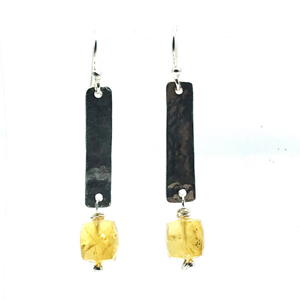 Hammered Sterling Silver Rectangle Drop Earrings with Citrine