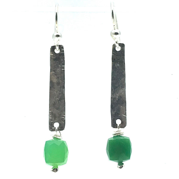 Hammered Sterling Silver Rectangle Drop Earrings with Chrysoprase