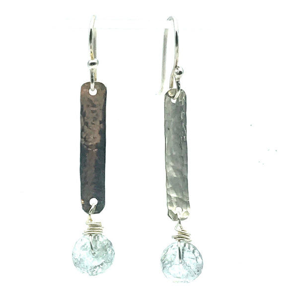 Hammered Sterling Silver Rectangle Drop Earrings with Aquamarine