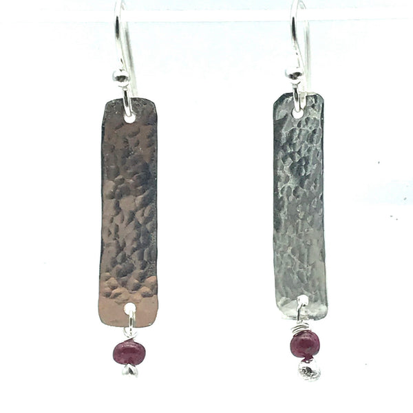 Hammered Sterling Silver Rectangle Drop Earrings with Ruby