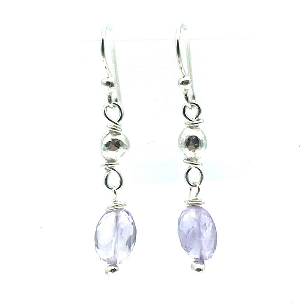 Sterling Silver Bead Drop Earrings with Pink Amethyst