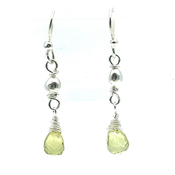 Sterling Silver Bead Drop Earrings with Lemon Quartz