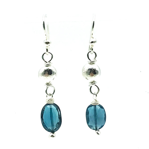 Sterling Silver Bead Drop Earrings with London Blue Topaz
