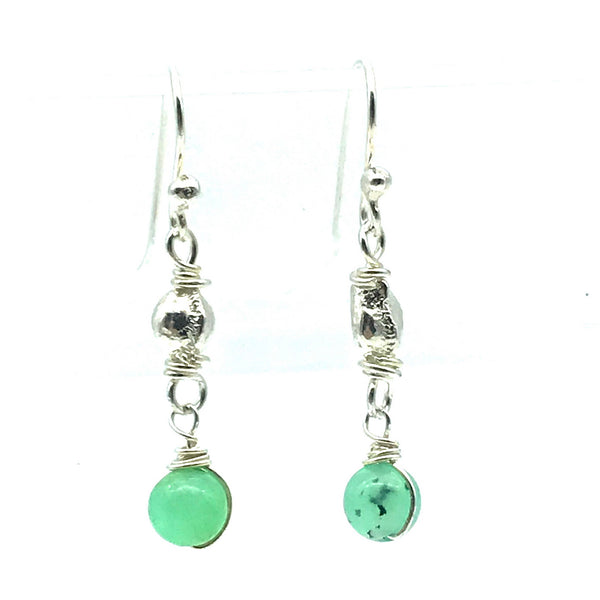Sterling Silver Bead Drop Earrings with Peru Opal