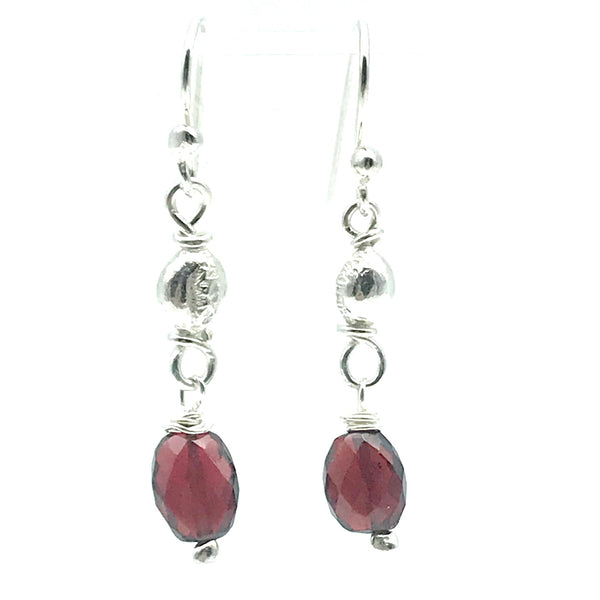Sterling Silver Bead Drop Earrings with Garnet