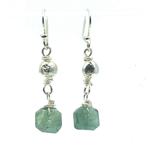 Sterling Silver Bead Drop Earrings with Fluorite