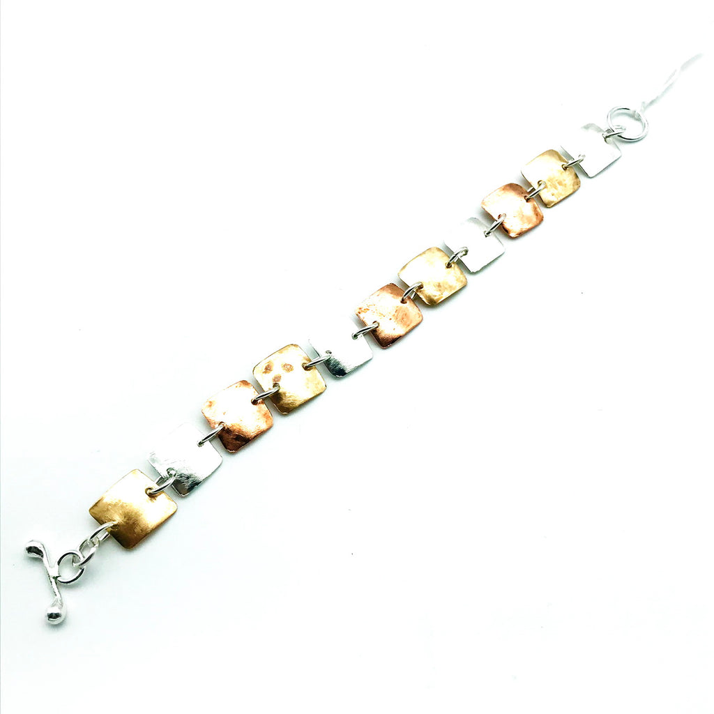 Brushed Copper, Bronze Sterling Silver Lozenge Bracelet