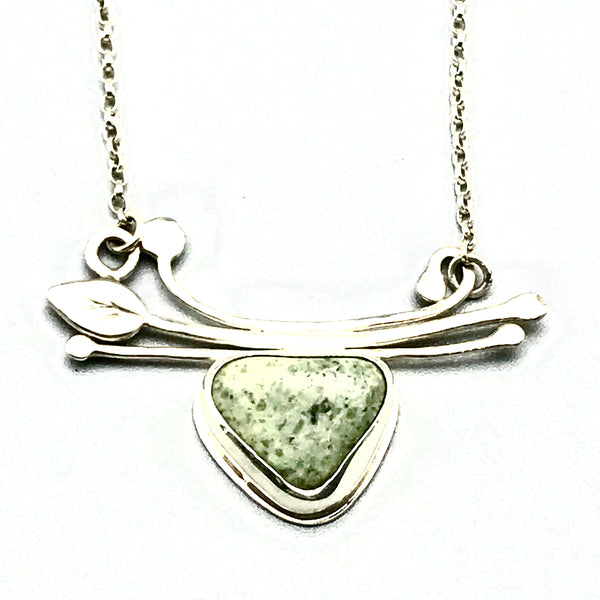 Sterling Silver Spring Branch Bar Pendant Necklace with Beach Stone