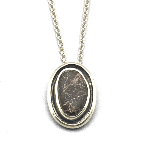 Sterling Silver Oval Shadow Box Pendant Necklace with Beach Stone