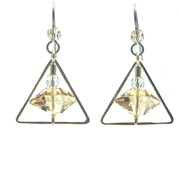 Champagne Cream Earrings, 1 1/2 inches