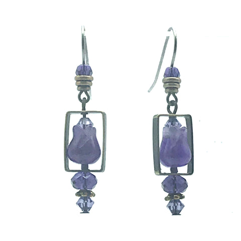 Passion for Purple Earrings, 1 3/4 inches