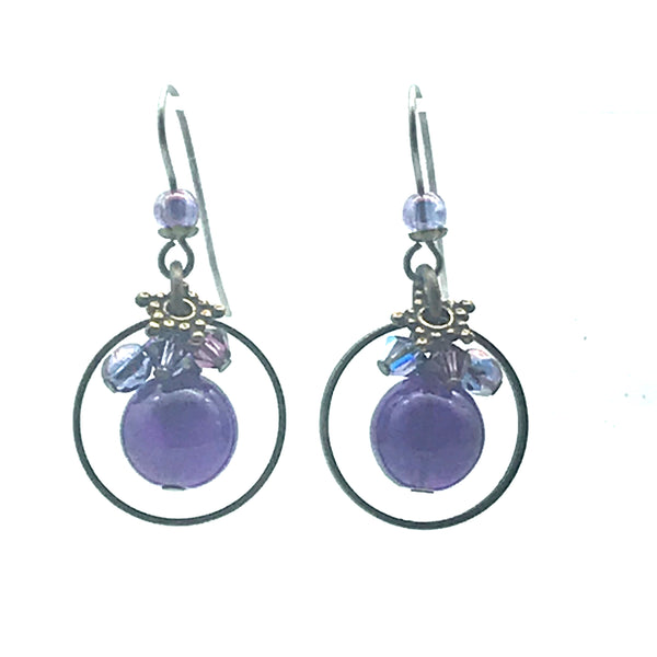 Passion for Purple Earrings, 1 1/2 inches