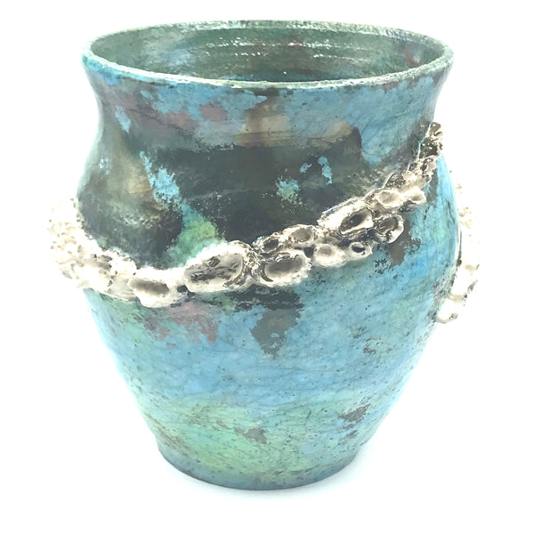 Raku Barnacle Pot in Ocean Green