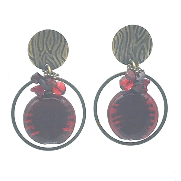Danger Zone Earrings,  1 3/4 inches