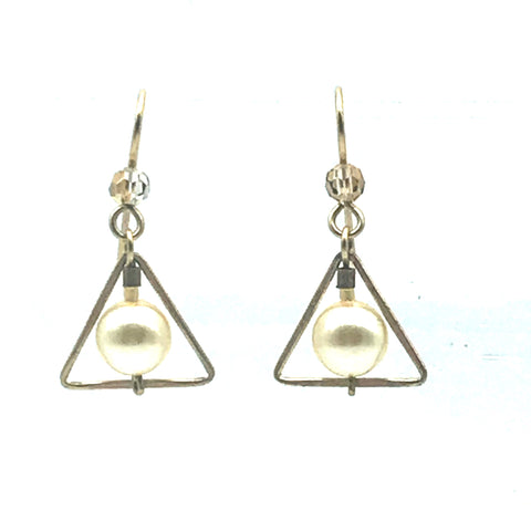 Champagne Cream Earrings, 1 1/4 inches