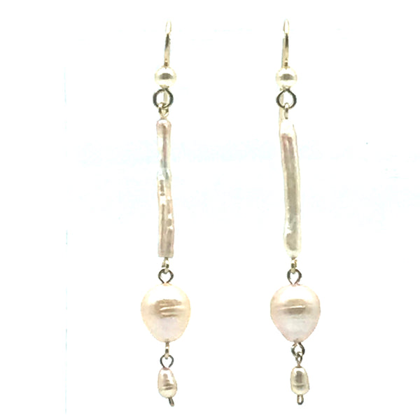 Champagne Cream Earrings, 2 3/4 inches
