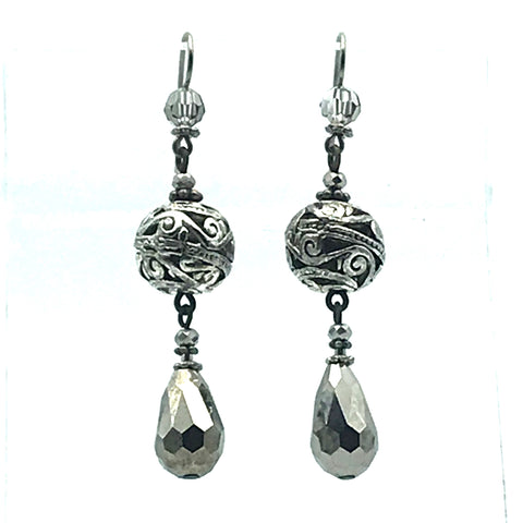 Silver Mist Earrings, 2 1/2 inches