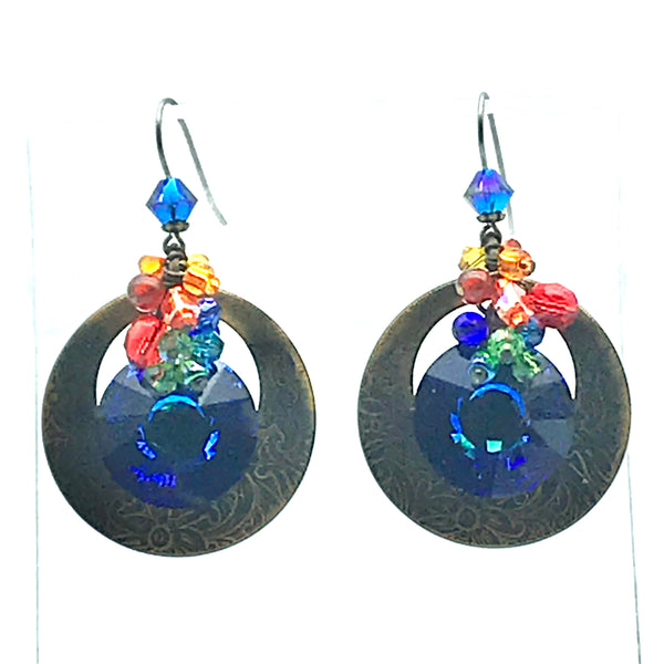 Galaxy Earrings, 2 1/8 inches