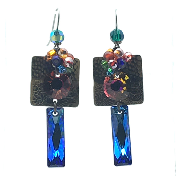 Galaxy Earrings, 2 5/8 inches