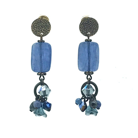 Tofino Blue Earrings, 1 3/4 inches