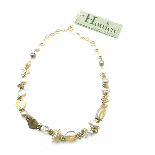Champagne Cream Necklace, 22 inches