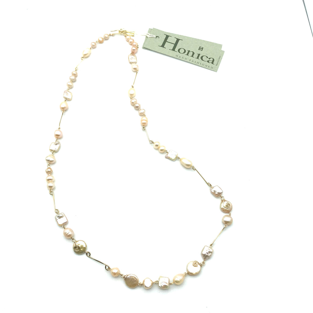 Champagne Cream Necklace, 29 inches