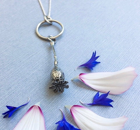 Sterling Silver Big Sister Poppy Pendant Necklace
