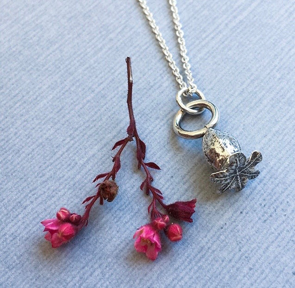 Sterling Silver Petite Poppy Pendant Necklace